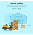 Forklift and Warehouse vector image vector image