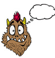 funny looking monster with thought bubble vector image vector image