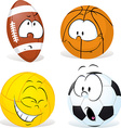funny sport ball cartoon isolated vector image