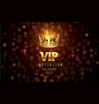 gold crown background blurred glow effect vip vector image vector image