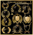golden shields and laurel wreaths vector image vector image