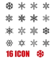 grey snowflake icon set vector image vector image