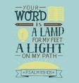 hand lettering your word is a lamp for my feet a vector image
