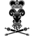 heraldic ram with a crown and scepter vector image vector image