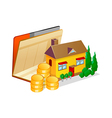 icon bankbook and house vector image