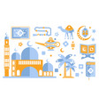 islamic culture color icons set muslim attributes vector image