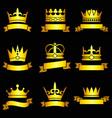 medieval king tiaras gold crowns and ribbon vector image vector image