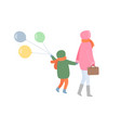 mm and child turning back in warm clothes vector image vector image