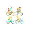 people on bikes set vector image vector image