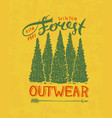 pine trees logo camping label trip in the forest vector image
