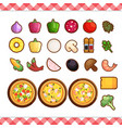 pizza constructor flat icons isolated on vector image vector image