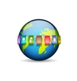 Planet with media icons vector image vector image