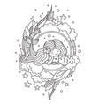 portrait of dreamy lying mermaid with flower in vector image
