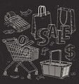 set icons for supermarket and trade the trading vector image