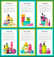 set of cosmetic skin care makeup color banners vector image vector image