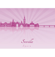 Seville skyline in purple radiant orchid vector image vector image