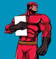 superhero holding book 2 vector image vector image