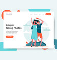 travelling couple taking photos together vector image