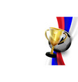 trophy cup with soccer ball on russian flag vector image
