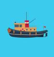 tugboat on blue background vector image vector image