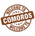 welcome to comoros brown round vintage stamp vector image vector image