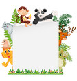 wild animal border template vector image vector image