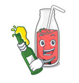 with beer strawberry smoothie mascot cartoon vector image vector image