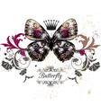 with detailed butterfly in vintage style vector image