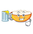 with juice cottage cheese mascot cartoon vector image
