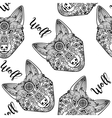 Wolf face seamless pattern vector image
