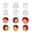 children face expressions in stroke and flat style vector image
