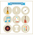 Flat School Arts and Music Icons Set vector image