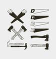 set of carpentry tools wood work equipment vector image