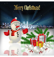 Abstract Christmas with silhouette of city snowman vector image vector image