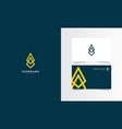 arrow abstract logo mark with business card vector image vector image