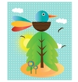 Background with bird flowers and tree vector image