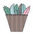 basket bohemian with feathers decorative vector image vector image