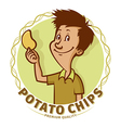 boy with potato chips vector image vector image