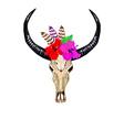 Bull Skull Hibiscuses vector image vector image