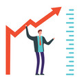 businessman raises arrow vector image vector image