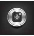 Camera simple icon on silver button vector image vector image