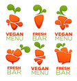 carrot vegetable vegan menu and fresh juice vector image vector image