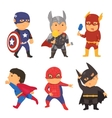 cartoon superhero costume kids vector image
