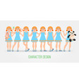 character design teen girl for animation vector image vector image
