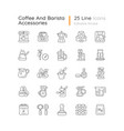 coffee and barista accessories linear icons set