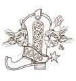 cowboy boot and roses wild west outline isolated vector image