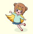 cute little girl cartoon in bear hat vector image vector image