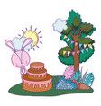cute little rabbit with sweet cake in the vector image vector image