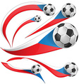 Czech Republic flag set with soccer ball vector image
