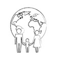 Family unity holding hands world planet